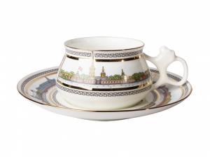 Lomonosov Porcelain Cup and Saucer Bilibina Neva Shores