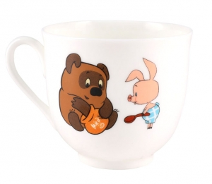Lomonosov Imperial Porcelain Cup and Saucer Winnie the Pooh Honey