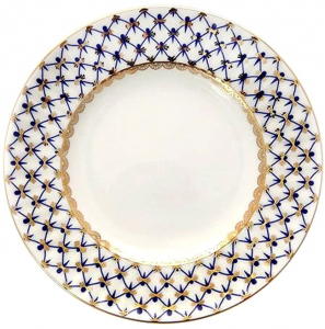 Lomonosov Imperial Porcelain Dessert Plate Cobalt Net Cake Bone China Wave
