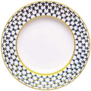 Lomonosov Porcelain Dessert Plate Cobalt Net Cake Smooth 7