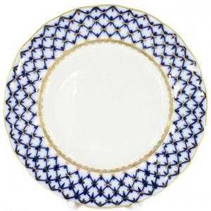 Lomonosov Imperial Porcelain Dessert Plate Cobalt Net Cake Tulip 5.9