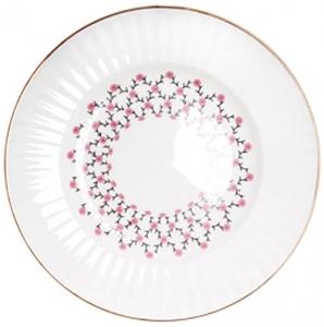 Lomonosov Imperial Porcelain Dessert Plate Pink Net Wave 5.9 inches/150 mm