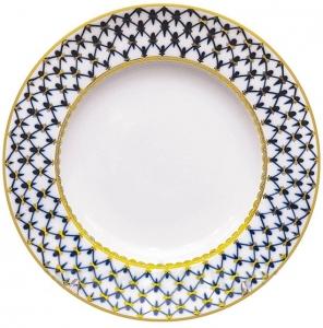 Lomonosov Imperial Porcelain Dinner Plate Cobalt Net European Flat 8.7