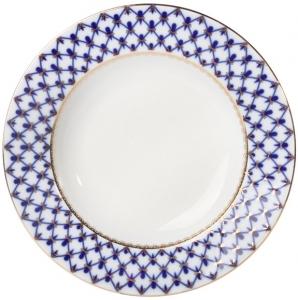 Lomonosov Imperial Porcelain Dinner Plate Cobalt Net European-2 Flat 7.9