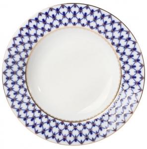 Lomonosov Porcelain Dinner Plate Cobalt Net European-2 Flat 8.5