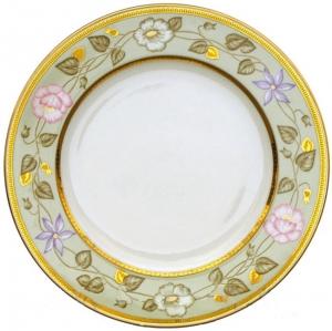 Lomonosov Imperial Porcelain Dinner Plate European Jade Background Flat 10.4