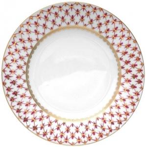 Lomonosov Imperial Porcelain Dinner Plate Smooth Red Net Flat 270 mm