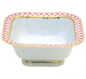 Lomonosov Imperial Porcelain Salad Bowl Red Net (6 serv.) 50.7 fl.oz/1500 ml