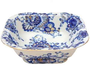 Lomonosov Imperial Porcelain Salad Bowl Singing Garden 6 serv. 50.7 oz/1500 ml