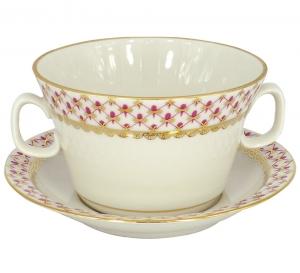 Lomonosov Imperial Porcelain Soup Bowl and Saucer Red Net 12.7 oz/360 ml