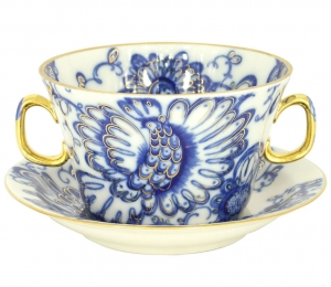 Lomonosov Imperial Porcelain Soup Bowl and Saucer Singing Garden 12.7 oz/360 ml