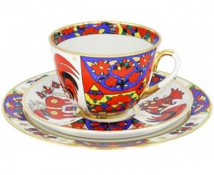 Lomonosov Imperial Porcelain Tea Cup Set 3pc Spring Folk Patterns 7.8 oz/230 ml