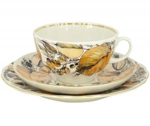 Lomonosov Imperial Porcelain Tea Set 3 pc Tulip My Garden 8.45 oz/250 ml