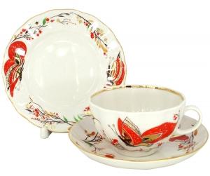 Lomonosov Imperial Porcelain Tea Set 3 pc Tulip Red Butterflies 8.45 oz/250 ml