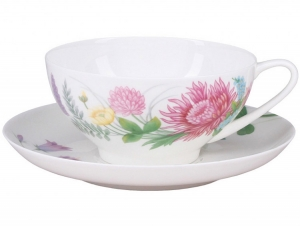 Lomonosov Imperial Porcelain Tea Set Cup and Saucer Dome Wildflowers #1