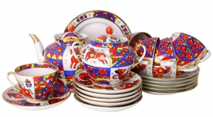 Lomonosov Imperial Porcelain Spring Folk Patterns Tea Set 6/20: Tea Pot, Sugar Bowl, 6 Cups with Saucers and 6 Cake Plates
