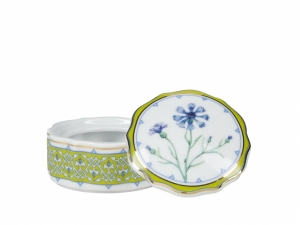 Lomonosov Porcelain Treasure Jewellery Round Box Blue Cornflower