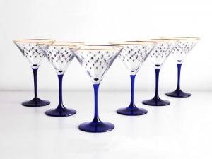 Imperial Porcelain Factory Martini Wine Glass 5 fl.oz Set 6 pc Cobalt Net