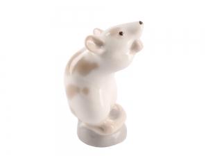 Mouse on Stand Beige Lomonosov Porcelain Figurine