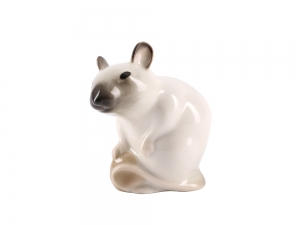 Mouse with Nut Beige Lomonosov Porcelain Figurine