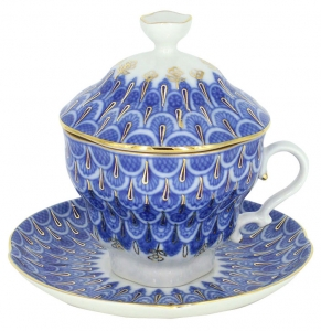 Lomonosov Imperial Porcelain Covered Cup and Saucer Forget Me Not Gift-2