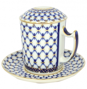 Lomonosov Imperial Porcelain Covered Tea Mug and Saucer Cobalt Net 12.8 oz