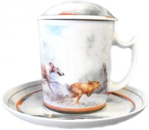 Lomonosov Imperial Porcelain Covered Tea Mug and Saucer Hunting 12.8 oz