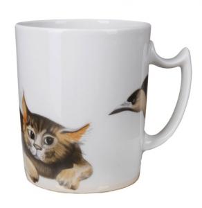 Lomonosov Imperial Porcelain Mug Listening Cat Snowy Morning 12.8 fl.oz/380 ml