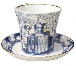 Lomonosov Imperial Porcelain Mug and Saucer Church on Nerl Leningradskii 12.2 oz/360 ml