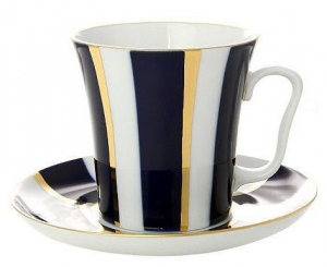 Lomonosov Imperial Porcelain Mug and Saucer Cobalt Stripes Leningradskii 12.2 oz/360 ml