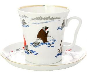 Lomonosov Imperial Porcelain Mug and Saucer Fishing Leningradskii 12.2 fl.oz/360 ml