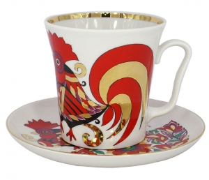 Lomonosov Imperial Porcelain Mug and Saucer Leningradskii Red Rooster 12.2 fl.oz/360 ml