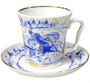 Lomonosov Imperial Porcelain Mug and Saucer TROIKA Leningradskii 12.2 fl.oz/360 ml