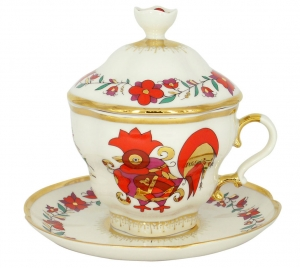 Lomonosov Imperial Porcelain Covered Cup and Saucer Red Roosters Gift-2