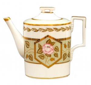 Lomonosov Imperial Porcelain Tea Pot Jade Background 20.3 fl.oz/600 ml