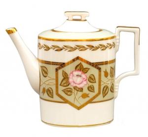 Lomonosov Imperial Porcelain Tea Pot Jade Background 20.3 fl.oz/600 ml
