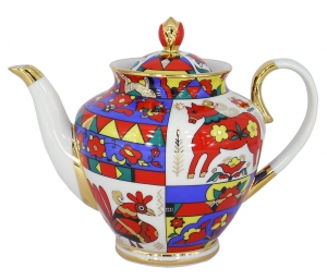 Lomonosov Imperial Porcelain Tea Pot Spring Folk Patterns 4 Cups