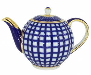 Lomonosov Imperial Porcelain Tea Pot Tulip Cobalt Cell 3 Cups 20 oz/600 ml