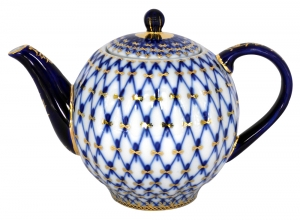Lomonosov Imperial Porcelain Tea Pot Tulip Cobalt Net 3 Cups 20 oz/600 ml