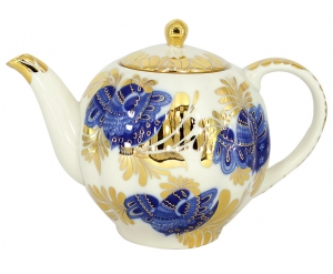 Lomonosov Imperial Porcelain Tea Pot Tulip Golden Garden 3 Cups 20 oz/600 ml