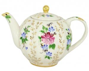 Lomonosov Imperial Porcelain Tea Pot Tulip Golden Daisy 20 oz/600 ml