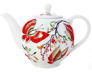 Lomonosov Imperial Porcelain Tea Pot Tulip Red Butterflies 3 Cups 20 oz/600 ml