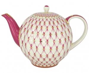 Lomonosov Imperial Porcelain Tea Pot Tulip Red Net 3 Cups 20 oz/600 ml