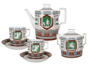 Lomonosov Imperial Porcelain Tea Set Ancient Antique 6/14