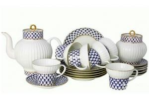 Lomonosov Imperial Porcelain Tea Set Cobalt Net Wave Bone China 6/21