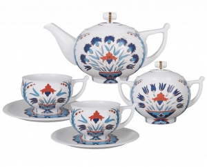 Lomonosov Imperial Porcelain Tea Set Cornflower 6/14