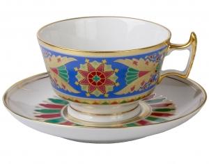 Lomonosov Imperial Porcelain Tea Set Cup and Saucer Alexandria Gothic 8.4 oz/250 ml
