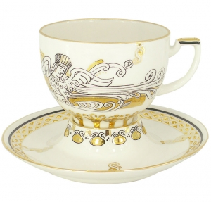 Lomonosov Imperial Porcelain Tea Set Cup and Saucer Andante Russian Modern