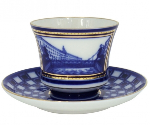 Lomonosov Imperial Porcelain Tea Set Cup and Saucer Banquet Bank Bridge 7.4 oz/220 ml