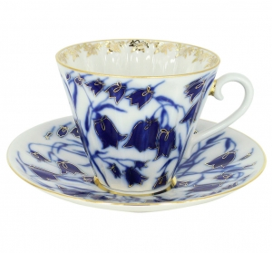 Imperial Lomonosov Porcelain Tea Set Cup and Saucer Blue Bells